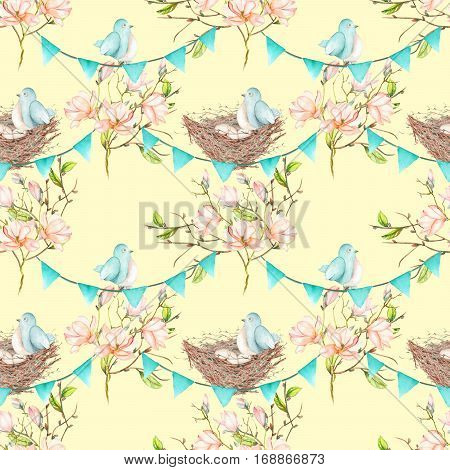 Seamless pattern with birds, nests and eggs on the garlands of the blue flags on spring magnolia tree branches, hand drawn on a light yellow background