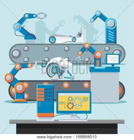 Automation manufacturing template with robotic mechanical arms assembly products at industrial conveyer vector illustration