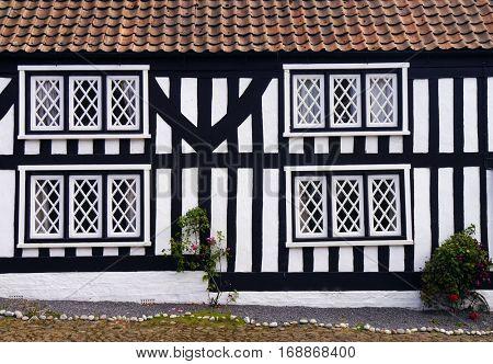 Mock Tudor house in English rural village.