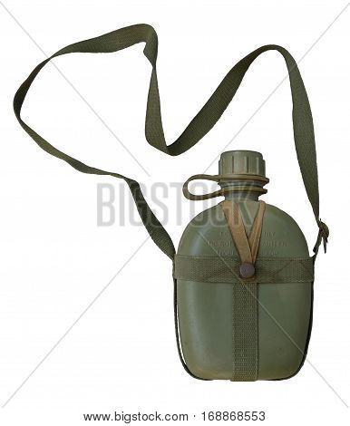 Military canteen / isolated white / Equipment for the troops
