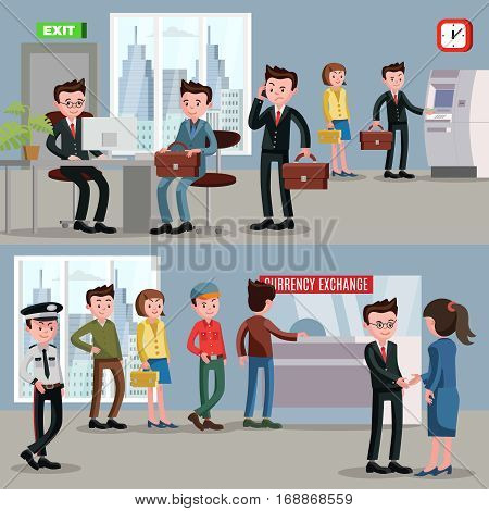 Financial service horizontal banners with staff security officer and customers in bank interior vector illustration