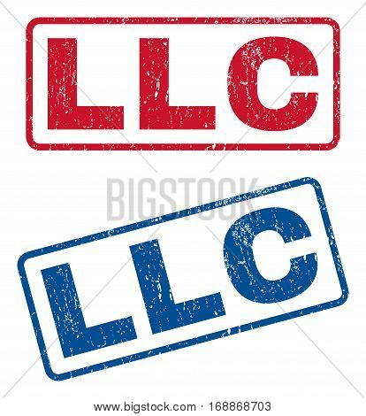 Llc text rubber seal stamp watermarks. Vector style is blue and red ink tag inside rounded rectangular banner. Grunge design and scratched texture. Blue and red emblems.
