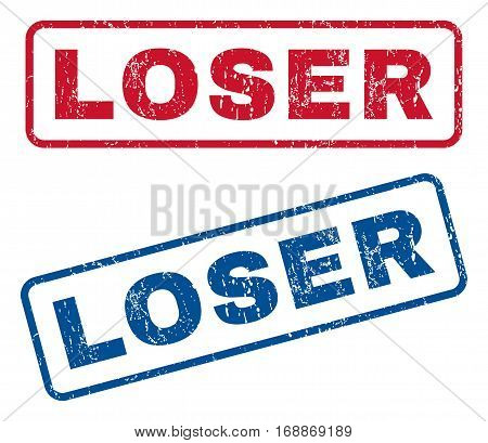 Loser text rubber seal stamp watermarks. Vector style is blue and red ink tag inside rounded rectangular banner. Grunge design and unclean texture. Blue and red signs.
