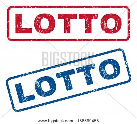 Lotto text rubber seal stamp watermarks. Vector style is blue and red ink tag inside rounded rectangular shape. Grunge design and dirty texture. Blue and red stickers.