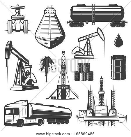 Vintage extraction oil elements set with pipeline tanker drilling rig barrels truck petrochemical factory isolated vector illustration