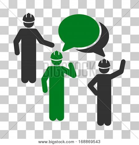 Engineer Persons Forum icon. Vector illustration style is flat iconic bicolor symbol green and gray colors transparent background. Designed for web and software interfaces.
