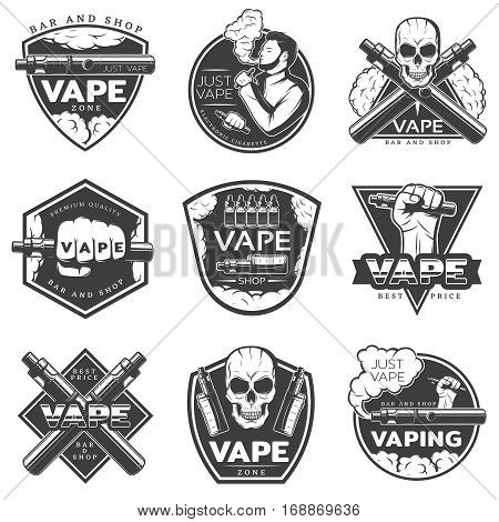 Vintage vape labels with vaporizer smoker electronic cigarette and skull isolated vector illustration