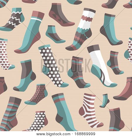 Vector illustration set pattern, collection flat design colorful socks isolated on light background. Textile warm clothes socks pair cute decoration wool winter clothing. Sport season collection.