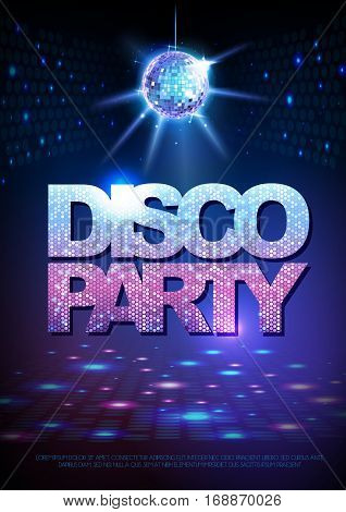 Disco ball background. Disco party poster. Neon