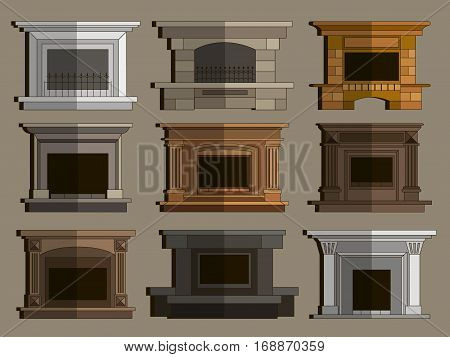 Set of vector fireplace icons and fireplace design. Vector illustration, EPS 10