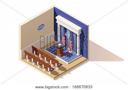 Vector isometric low poly White House briefing room icon