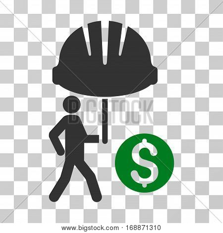 Industrial Financial Coverage icon. Vector illustration style is flat iconic bicolor symbol green and gray colors transparent background. Designed for web and software interfaces.