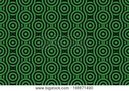 Illustration of several green and black concentric circles