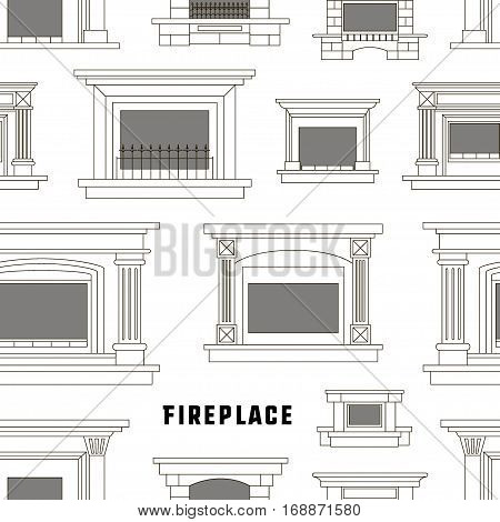 Set of vector fireplace icons and fireplace design pattern. Vector illustration, EPS 10