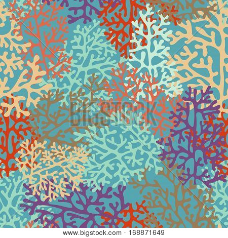 Seamless whimsical pattern with corals for design