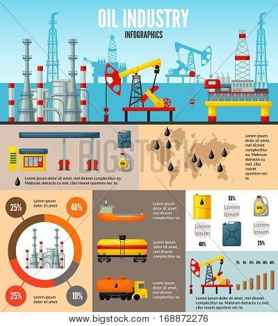 Oil industry infographic template with processes of extraction production transportation storage and petroleum refining vector illustration