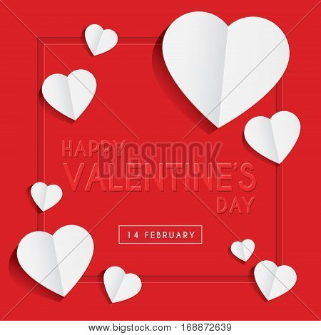 Happy Valentine's Day greeting card template with emboss text & paper in heart shape design on red background. 14 february vector illustration.