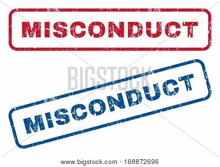 Misconduct text rubber seal stamp watermarks. Vector style is blue and red ink caption inside rounded rectangular shape. Grunge design and unclean texture. Blue and red signs.