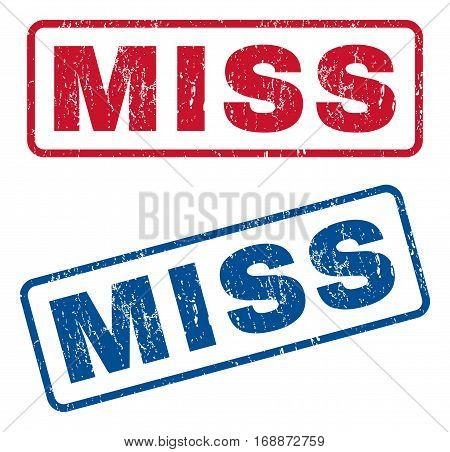 Miss text rubber seal stamp watermarks. Vector style is blue and red ink tag inside rounded rectangular banner. Grunge design and unclean texture. Blue and red stickers.