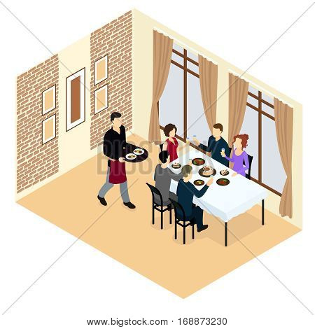 Isometric holiday concept with celebrating  people sitting at dining table and serving waiter vector illustration