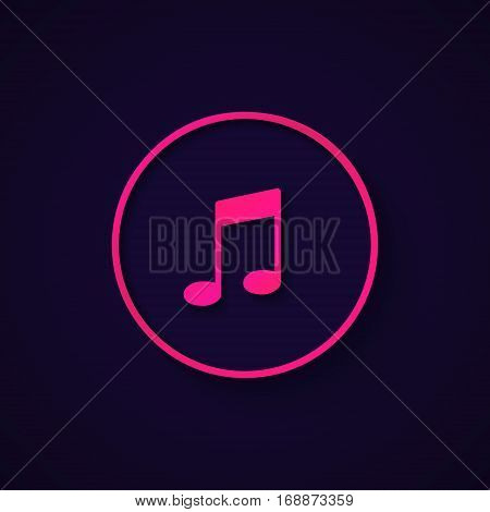 Beautiful pink music icon in modern style, vector illustration. Note silhuette for web, mobile, application.