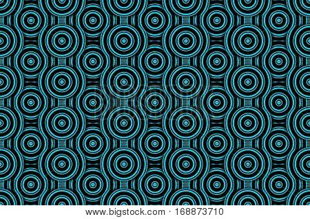 Illustration of several cyan and black concentric circles