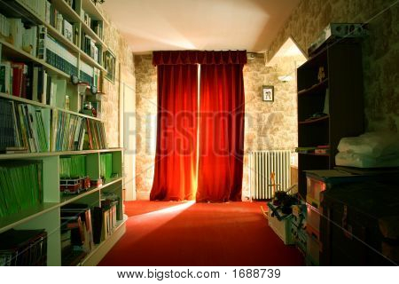 Beautiful And Long Red Corridor In Home