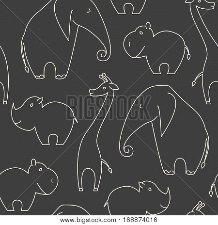 One Line African Animals Seamless Pattern On Dark Grey Background