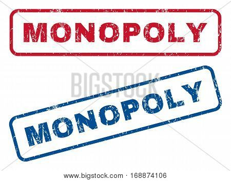 Monopoly text rubber seal stamp watermarks. Vector style is blue and red ink caption inside rounded rectangular banner. Grunge design and dirty texture. Blue and red signs.