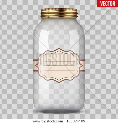 Big Glass Jar for canning and preserving with sticker label. Vector Illustration isolated on transparent background.
