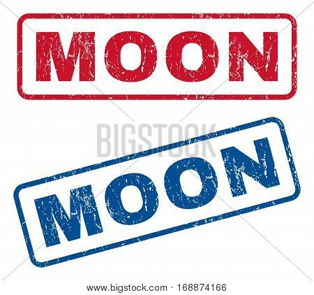 Moon text rubber seal stamp watermarks. Vector style is blue and red ink tag inside rounded rectangular banner. Grunge design and dirty texture. Blue and red emblems.
