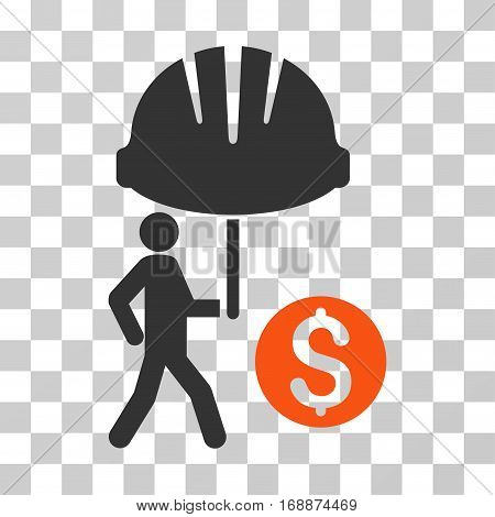 Industrial Financial Coverage icon. Vector illustration style is flat iconic bicolor symbol orange and gray colors transparent background. Designed for web and software interfaces.