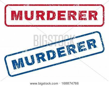 Murderer text rubber seal stamp watermarks. Vector style is blue and red ink caption inside rounded rectangular shape. Grunge design and scratched texture. Blue and red stickers.