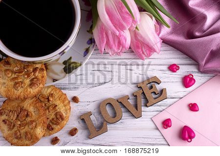 Valentine's Day Elegant Still Life With Tulip Flowers Cup Of Coffe Marshmallow Lettering Love Sign O