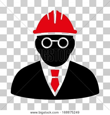 Clever Engineer icon. Vector illustration style is flat iconic bicolor symbol intensive red and black colors transparent background. Designed for web and software interfaces.