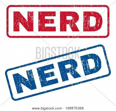 Nerd text rubber seal stamp watermarks. Vector style is blue and red ink caption inside rounded rectangular shape. Grunge design and unclean texture. Blue and red emblems.