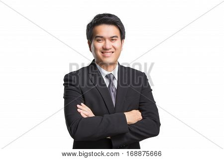 Young Asian Handsome Businessman In Black Suit Smiling Isolated On White Background