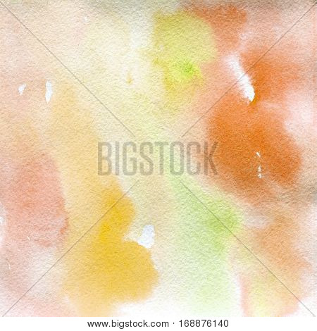 watercolor texture transparent yellow orange pink shades spots. watercolor abstract background spot blur fill