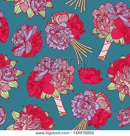 Seamless Pattern Made Of Peony Bouquets On Teal Blue Background
