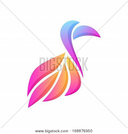 Abstract Glowing Gradient Bird With Big Beak Composition On White Background