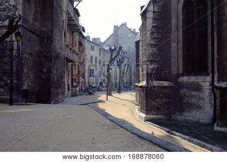 Chambery old town streets and medieval architecture Savoy France