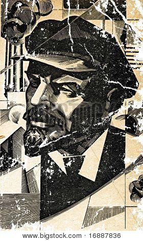 drawing of the communist of the lenin on old paper with rift poster