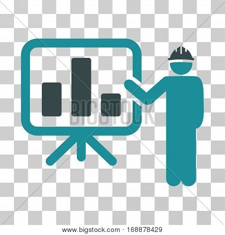 Engineer Pointing Chart Board icon. Vector illustration style is flat iconic bicolor symbol soft blue colors transparent background. Designed for web and software interfaces.