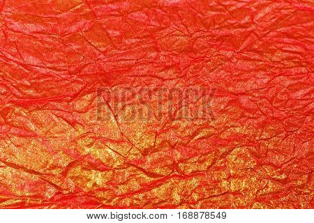 Texture Of Crumpled Colored Paper With Gold Plating, Crumpled Paper