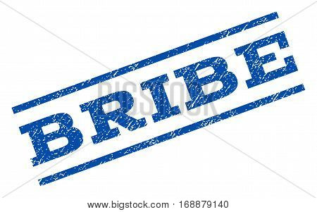 Bribe watermark stamp. Text tag between parallel lines with grunge design style. Rotated rubber seal stamp with scratched texture. Vector blue ink imprint on a white background.