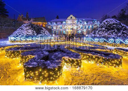 GDANSK, POLAND - JANUARY 8, 2017: Winter illumination of 500 000 light bulbs at the Park Oliwski in Gdansk, Poland. Park Oliwski is the biggest heritage park in Gdansk with area of 11,3 ha.