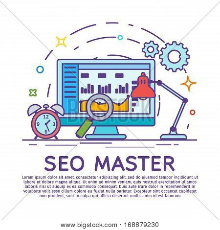 Сolored line art analytics website banner. Website development, search engine optimization. Web analytics elements and marketing. Workplace expert in SEO and SMM. Stroke lines vector illustration