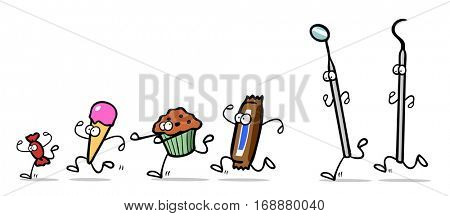 Dental care concept with candy running away from dentist tools