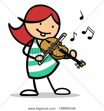 Redhaired cartoon girl playing violin in music class to learn the instrument
