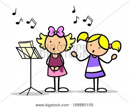 Two cartoon children singing songs in a music school with musical notes floating around